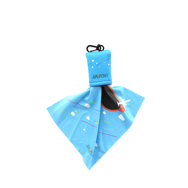 promotion gift microfiber cleaning cloth for glasses with keychain pocket