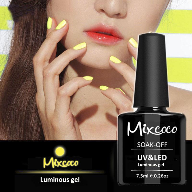 Mixcoco 15ml Fluorescent Neon Luminous Nail Polish 24 Candy Color ...