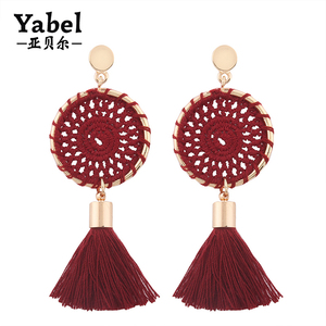 Newest knit handmade long earrings fashion silk thread tassel earrings