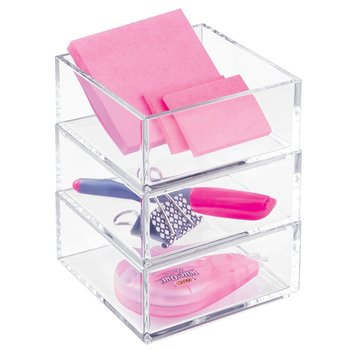 Acrylic Stackable Makeup Storage Vanity Cabinet Cosmetic Drawer Organizer Office Supplies Storage Bins Organizer Holder for Memo