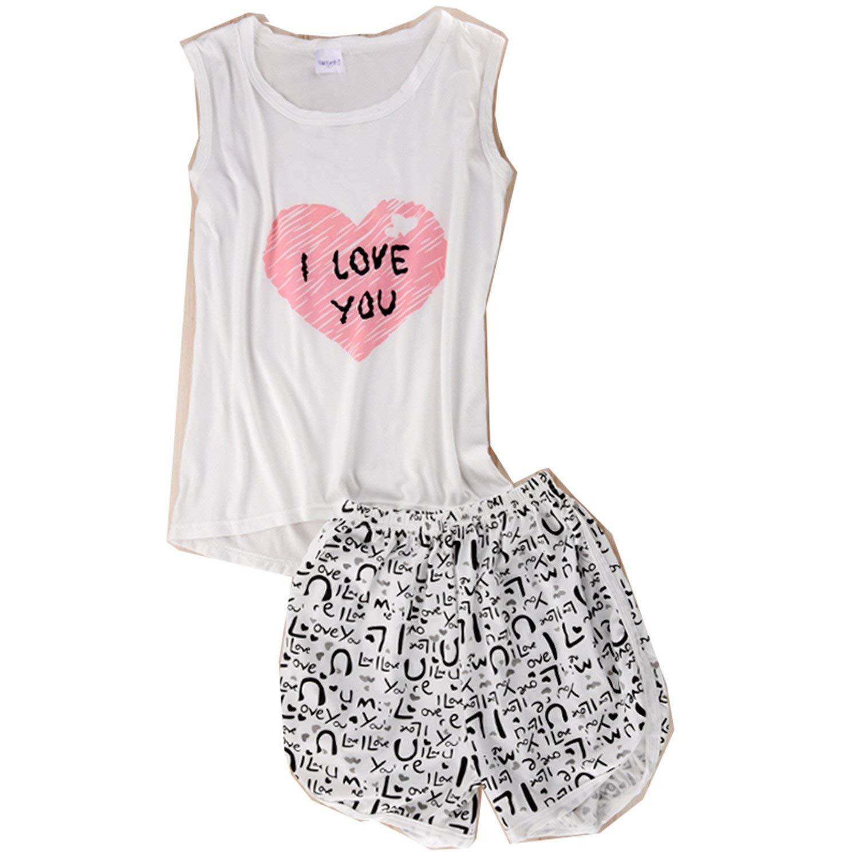 48cf88acf12 Get Quotations · Dorathywatm Women Sexy Lingerie Cute Cartoon Sleepwear  Shirts+Shorts Nightwear Set Sleeveless Pajamas Set