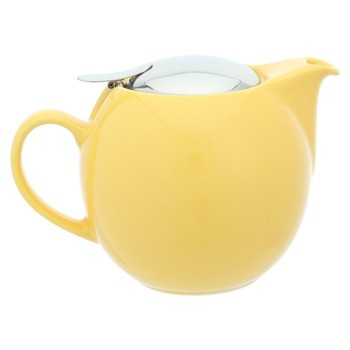 yellow glaze ceramic teapot with stainless steel lid and strainer