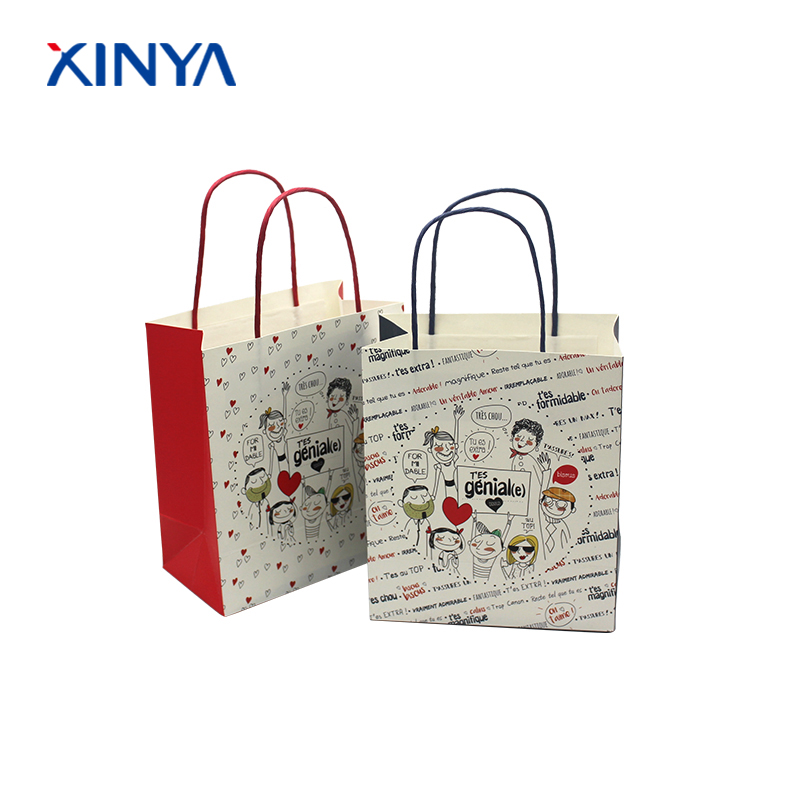 Delicate packing strong handles christmas decorate gift paper merchandise bags for kids