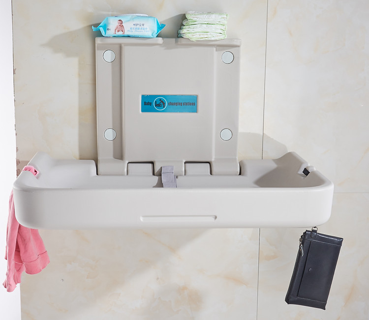 Plastic PE public bathroom toilet baby changing table portable baby changing station
