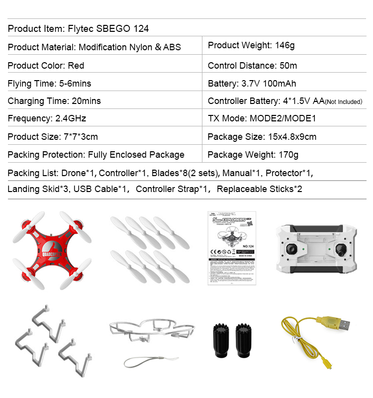 Flytec SBEGO 124 Mini Drones Toys Pocket Drone TX+Quadcopter All In One Drone Quadcopter Red