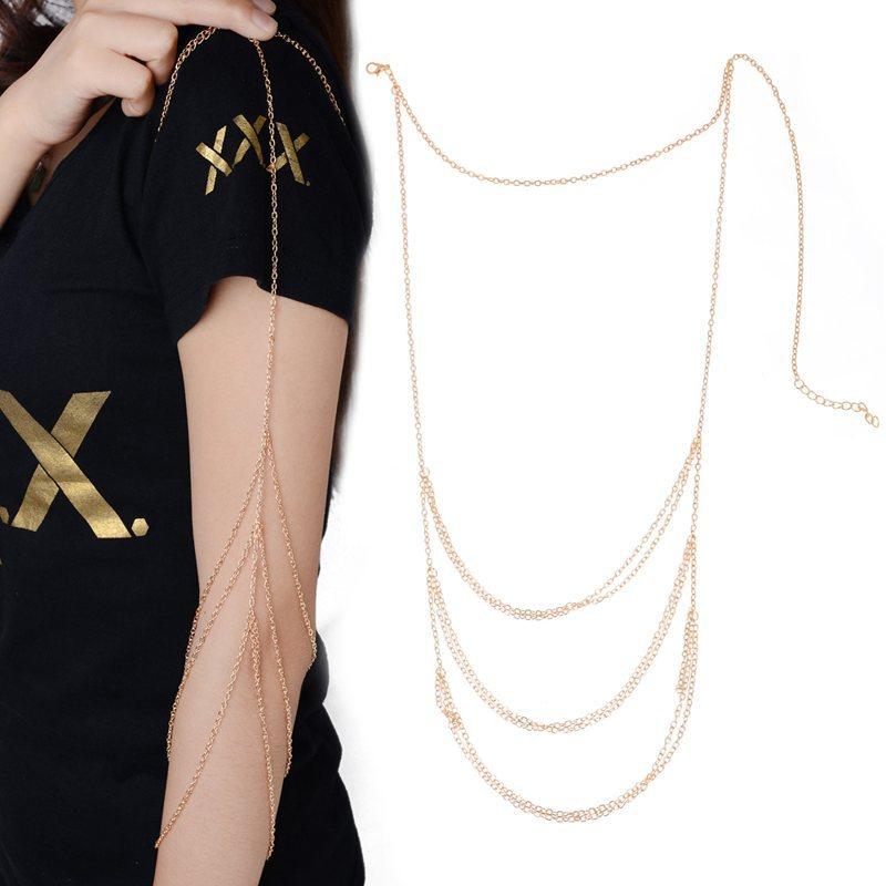 bd4389e5089 NEW Women's Fashion Chains Shoulder Jewelry Upper Arm Cuff Armlet Bracelets  for Women Gold Tassel Body