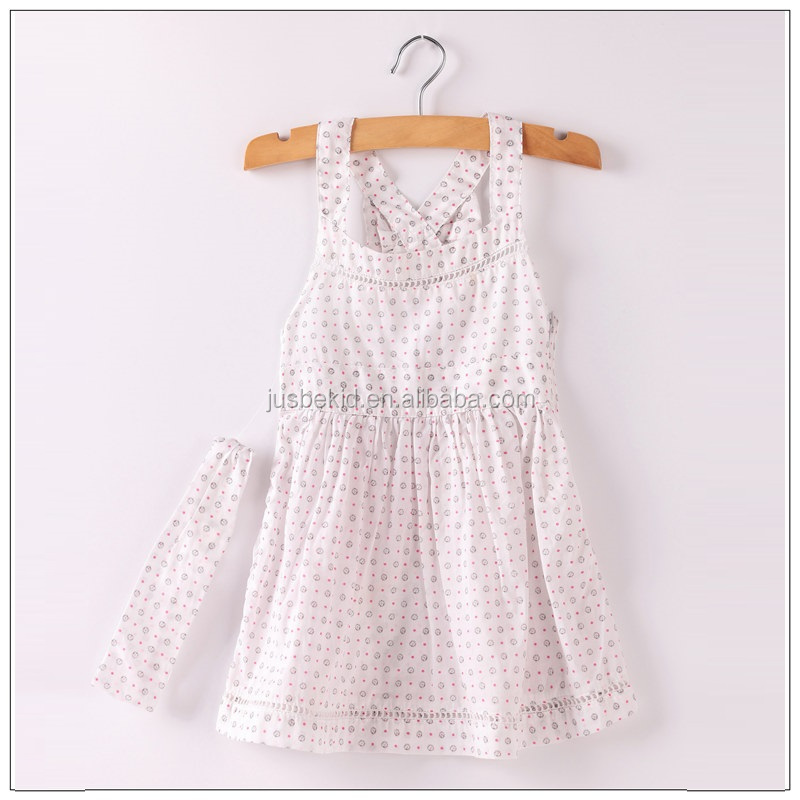 Summer Sweety Cotton Back Cross Vest Dress For Girl Baby Clothing Polka Dot Printed Dress With Headband