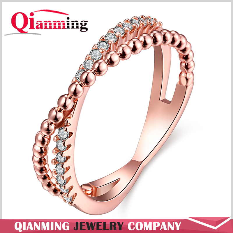 Cubic Zirconia Shiny Polished Thin Criss Cross Crossing X Infinity Ring Love Forever Gift Women Statement Ring