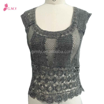 Ladies Crochet Lace Tops Boat Neck Blouse Designs Photo Buy