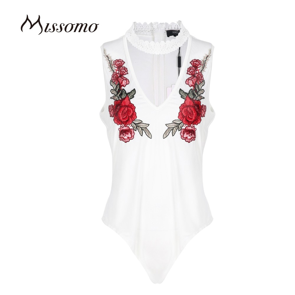 Missomo Women White Sexy Flower Print Lace Soft Trim Semi-sheer Choker With Zipper Breathable Bodysuit For Wholesale
