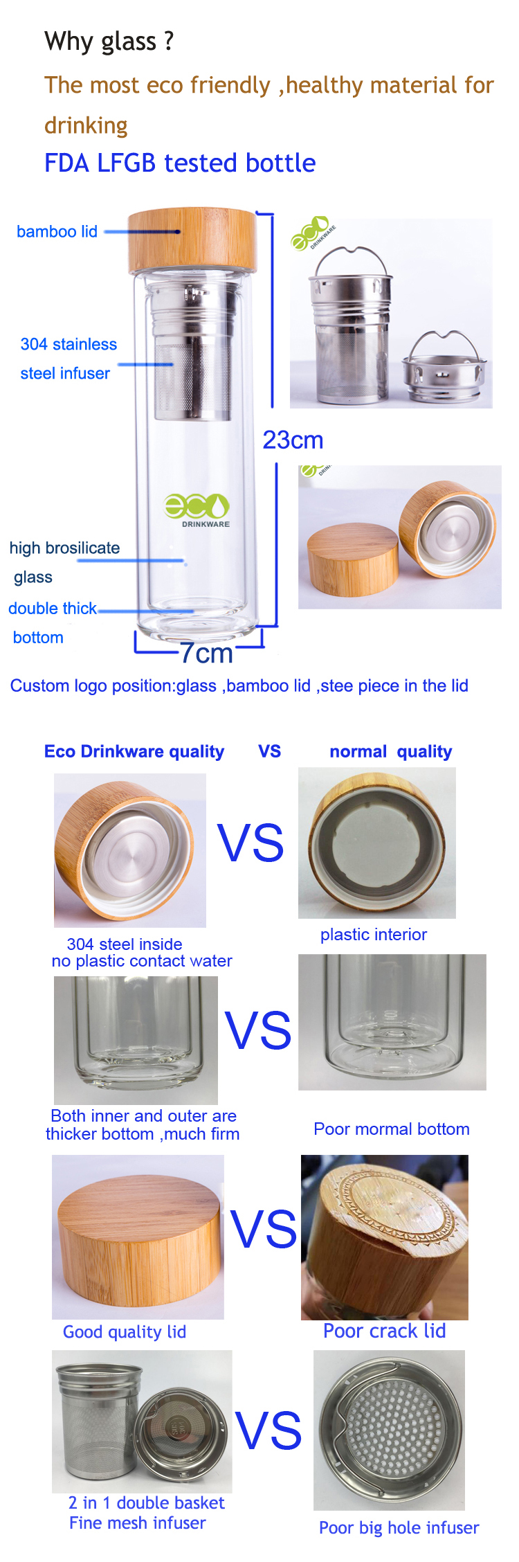 Stocked BPA free Wholesale fashion high quality double wall infuser loop lid handle lid tea bottle