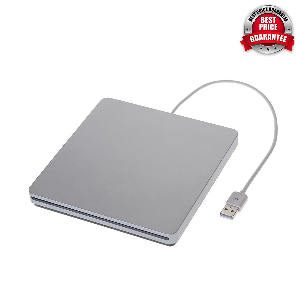 COOLEAD- External Super Slim USB 2.0 Slot-In DVD-RW Compatible with MacBook Pro Air iMAC, Win 7, laptops, Netbooks and desktop PCs+ microfiber cloth (Silver)