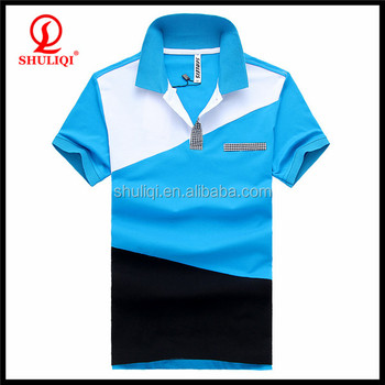 Color black white sky blue cotton new design polo shirt for Polo shirt color combination