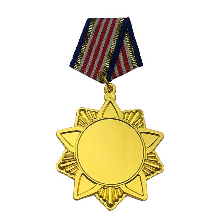 3d casting blank award commemorative military army gold honor medal badge with ribbon