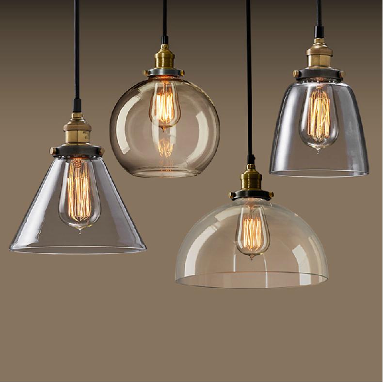 new vintage clear glass pendant light copper hanging lamps e27 110 220v light bulbs for home. Black Bedroom Furniture Sets. Home Design Ideas