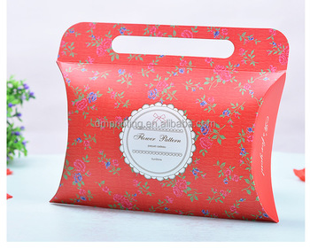 250g white card logo printing gift pillow box with handle