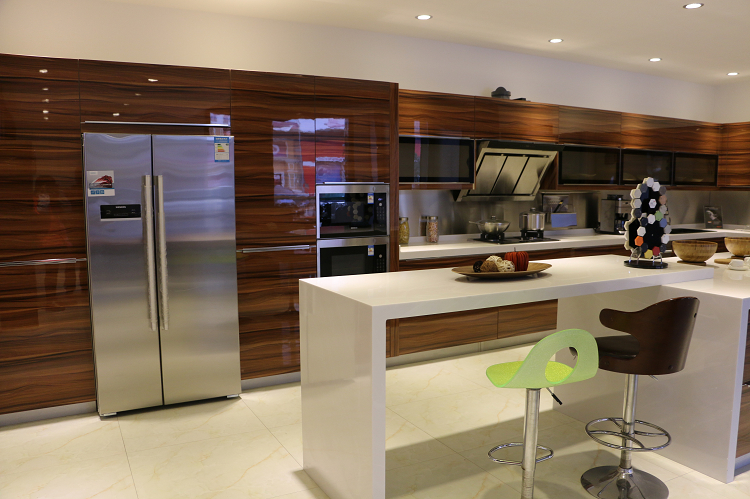 Jisheng Teak Wood Melamine Kitchen Cabinet Design Modern