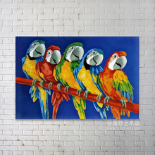 Beautiful realistic animal oil painting of parrots
