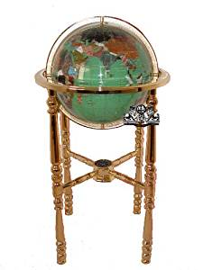 """Unique Art Since 1996 Collector's Edition 37"""" Tall Green Crystallite Ocean Compass 4 Gold leg Table Stand Gem Gemstone World Map Globe Globes Maps"""