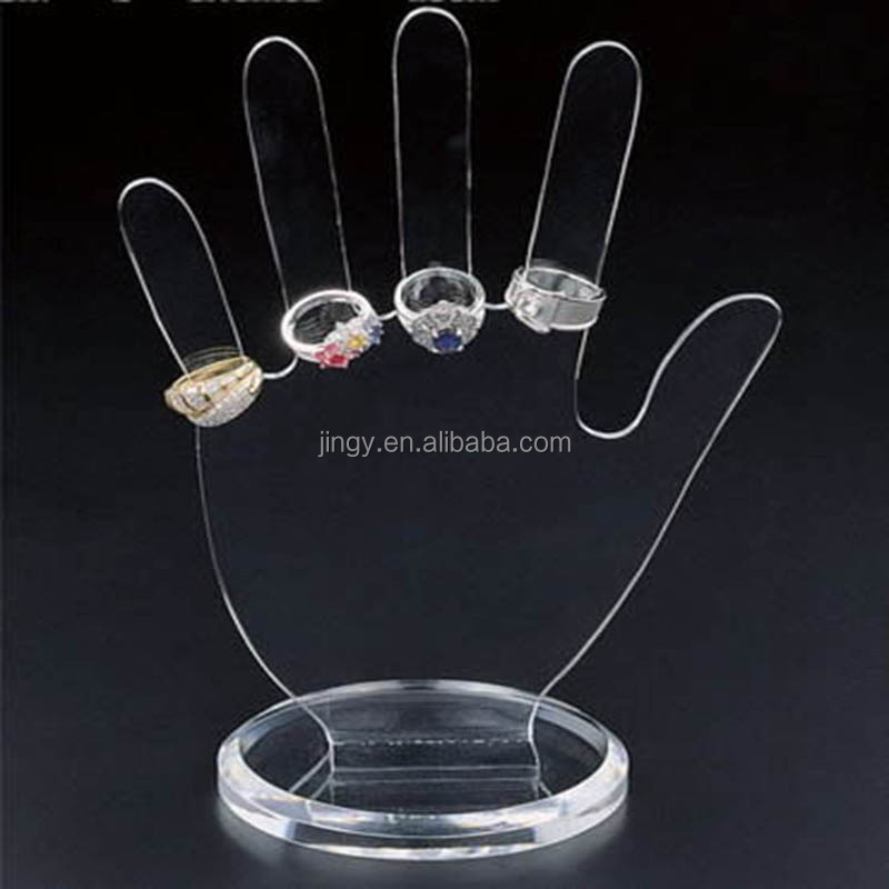 Clear hand shape PMMA rotating earring display stand plexiglass floor display stand for earring acrylic necklace earring display