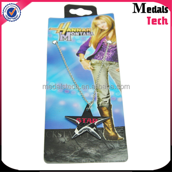 Personalized hot item singer epoxy effect 3D black nickle star dog tag with ballchain