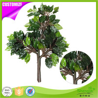 Anti-UV Office Decor Artificial Silk Ficus Tree Branches And Lamination Green Leaves