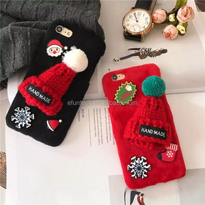 Drop shipping winter knit hats fur back cell phone case for iphone 7 7 plus case