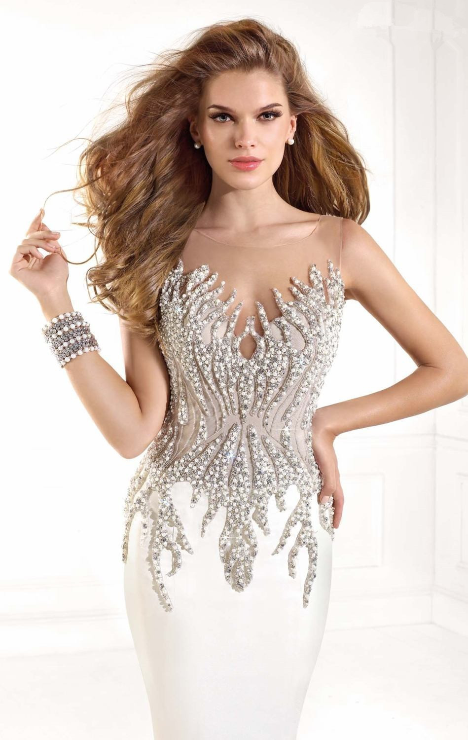 Fast Send White Mermaid Prom Dress Long Prom Dresses 2015 With Crystal Beading Sexy Women Formal Gowns In Stock