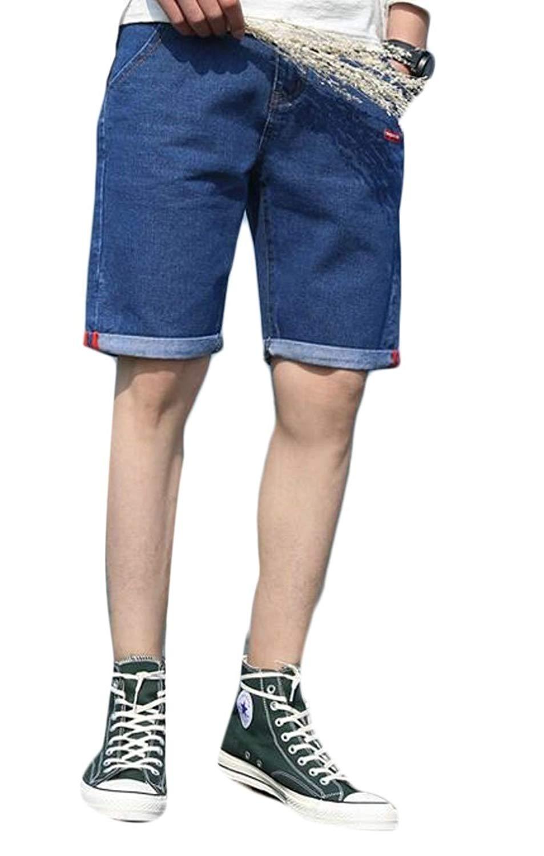 WSPLYSPJY Men's Midrise Elastic Ripped Straight Fit Denim Shorts