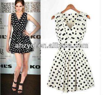 315d2c19824c Latest design lady dress elegant sleeveless summer fashion polka dot dress