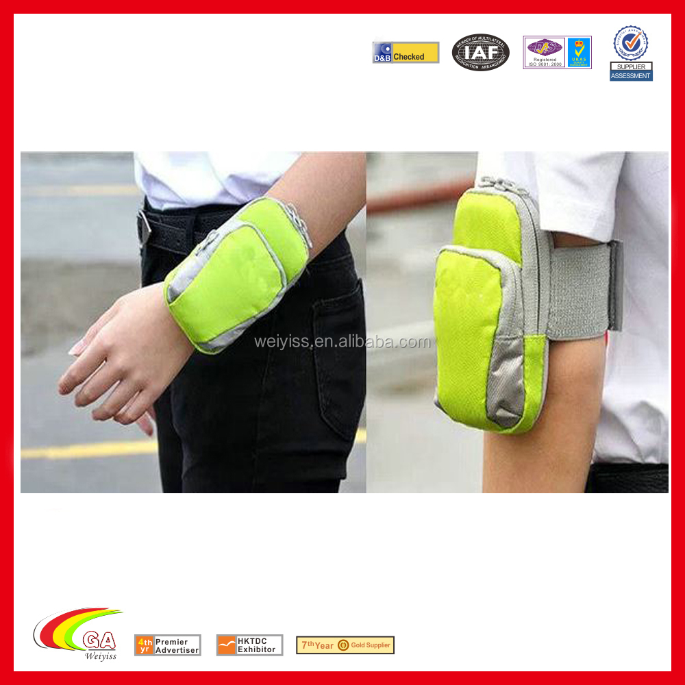 Nylon Multifunctional Zipper Pockets outdoor sport Armband bag for iphone 6 plus made in china
