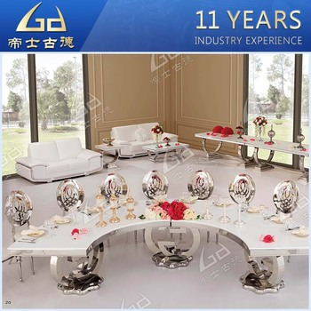 Custom Made New Design Half Moon Marble Top Golden Metal Frame 8 Seater Dining Table For