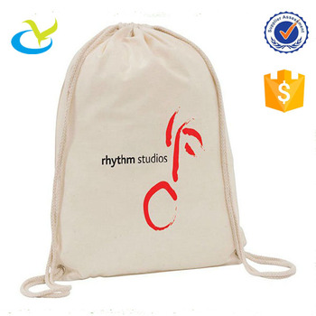 Hot sale promotional cheap recycled reusable organic cotton calico drawstring hobo hippie bread backpack bag