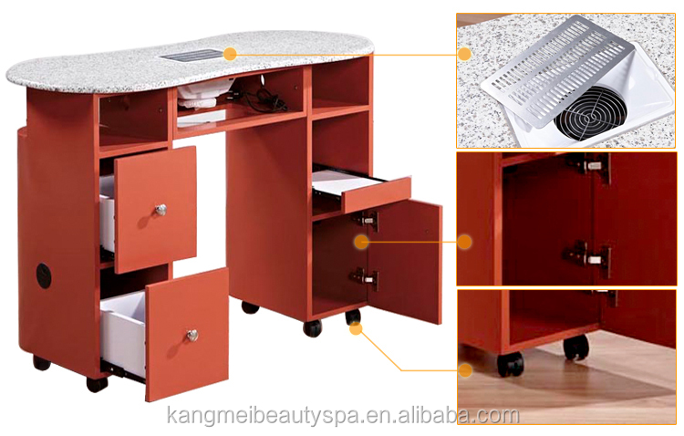 salon station furniture nail table with dust collector (HN6869)