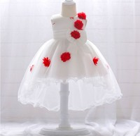 Hao Baby,Baby Girl Wedding Dress 2019 New Baby Age Embroidery Flower Mesh Tail Tail Princess Dress