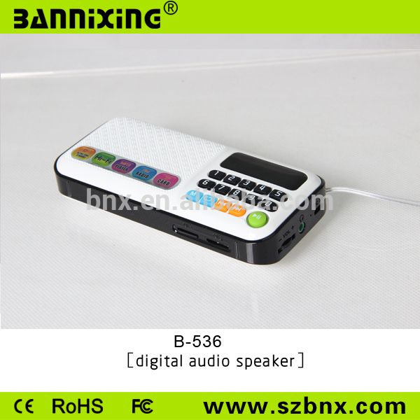 Mini music player rechargeable digital led display mp3 player fm radio speaker