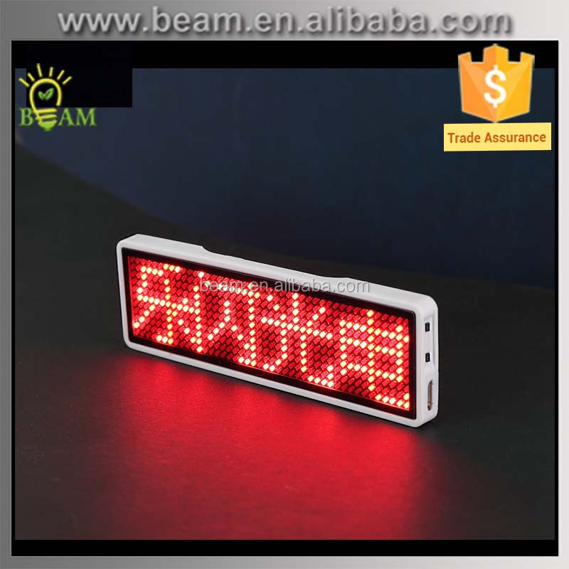Electronic business card digital programmable led name tag led name badge
