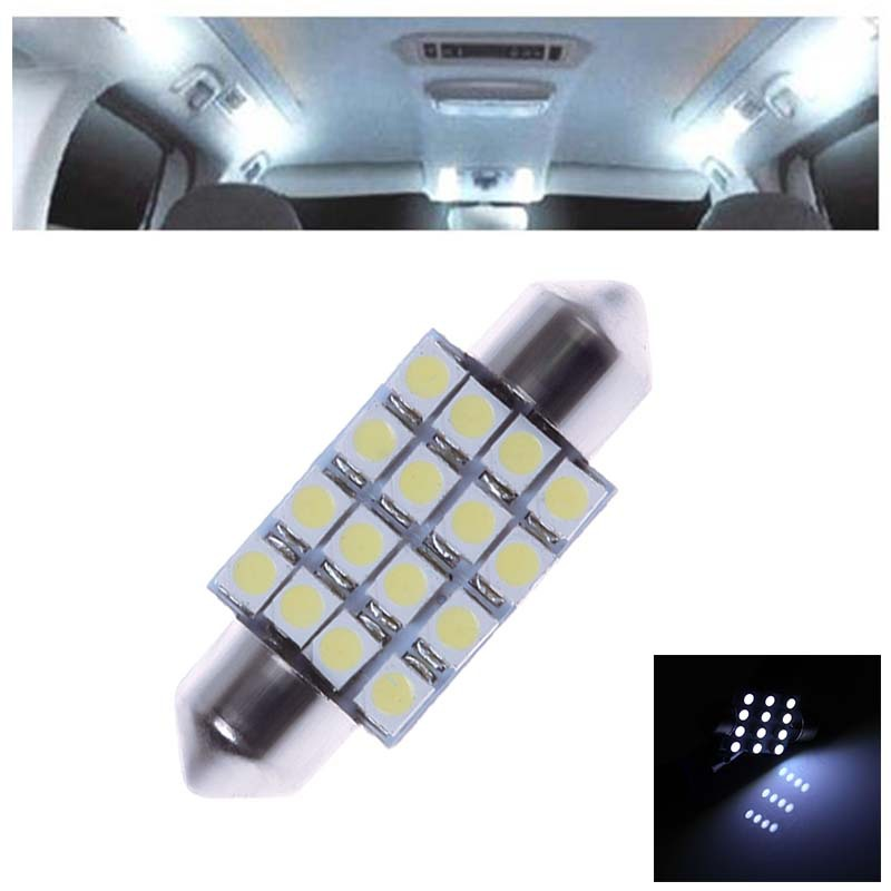 2x 36MM 16 SMD 3528 Car Interior Dome Festoon LED Light Bulbs Lamp White 12V #57211
