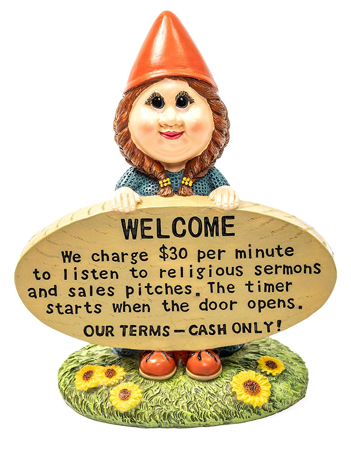 """Brashfords Lawn and Garden Gnome Statue Figurine. 8 1/2"""" with Funny Welcome Sign for Home Decor. Unique Housewarming Gift for The Home and Garden, Yard, Porch and Lawn use."""