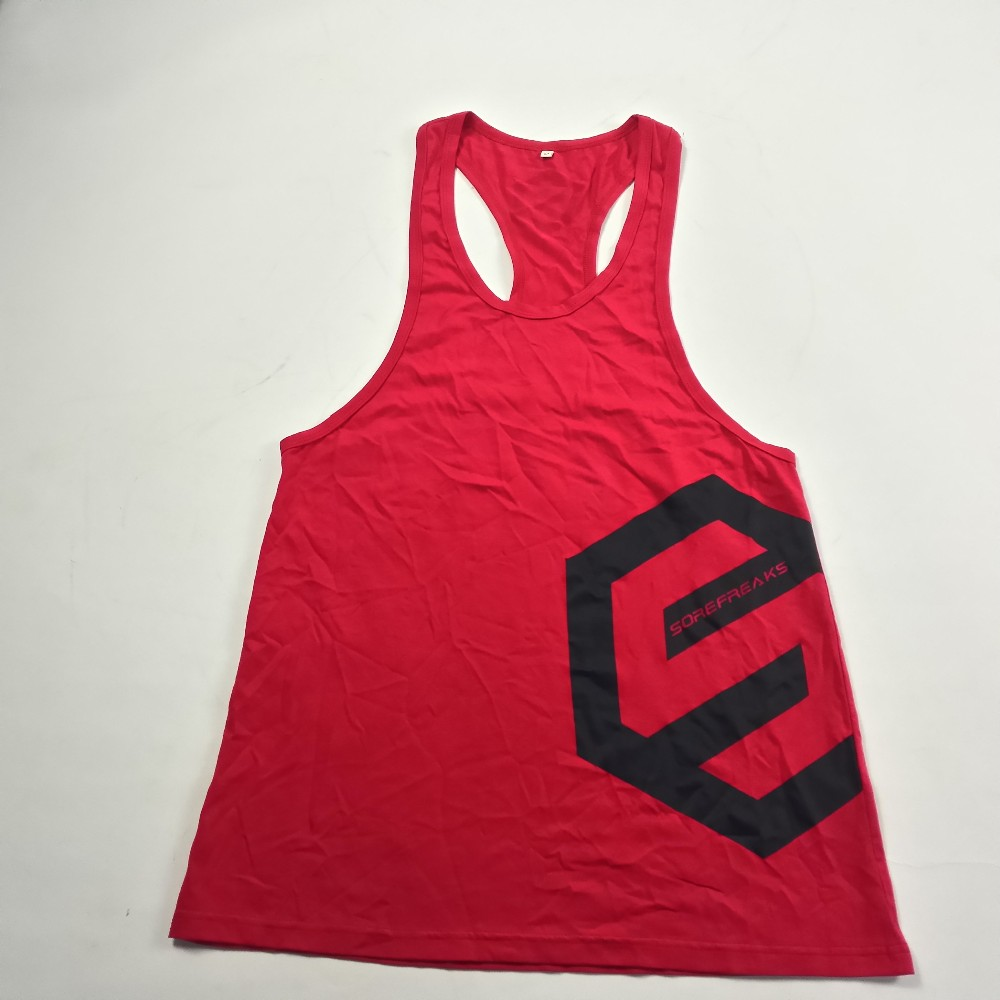 Sports Gym Tank Top Mens Custom Stringer Tank Top 100%Cotton Singlets For Adults