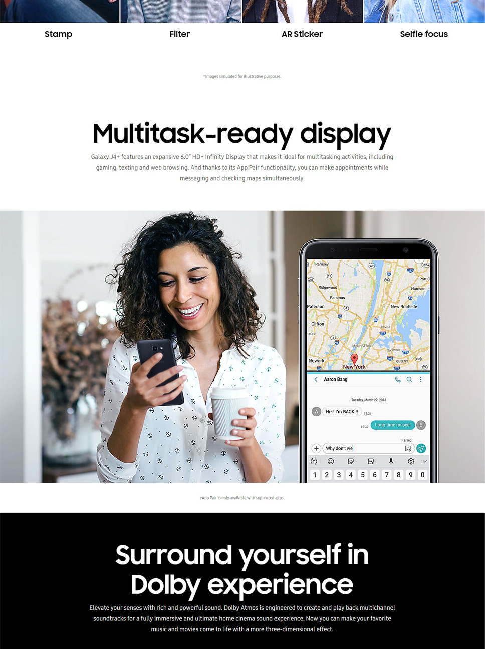 Samsung Galaxy J4 Plus J415GN/DS 6 0'' Smart Phone 3GB RAM 32GB ROM Quad  Core Dual SIM Cards With 3300mAh Battery