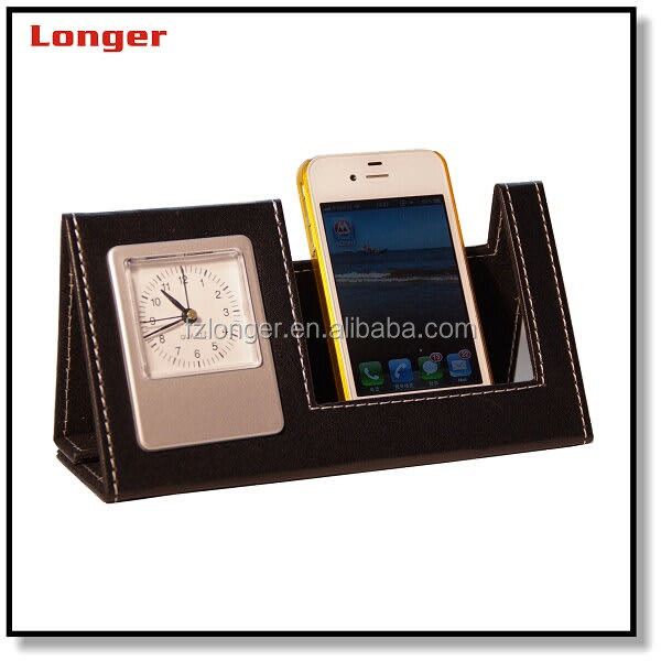 Desktop Cell Phone Stand Pu Leather Mobile Holder Clock Table Security