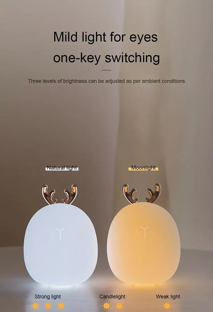 2020 Newly Designed Small Rabbit Deer Animal Mini Baby Kids LED Lamp Silicone Night Light For Kids Baby