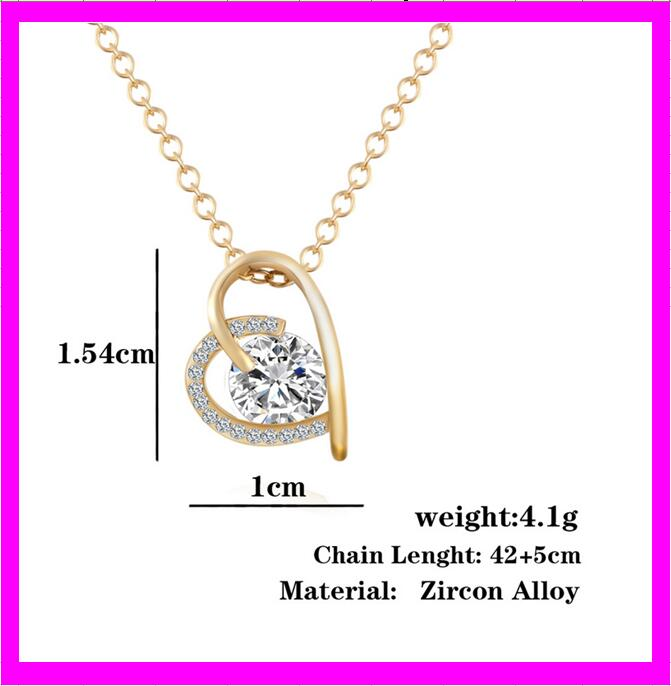 wholesale fashion alloy zircon heart pendant necklace