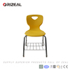 orizeal chroming metal frame and plastic seat shell shool chair with metal book net
