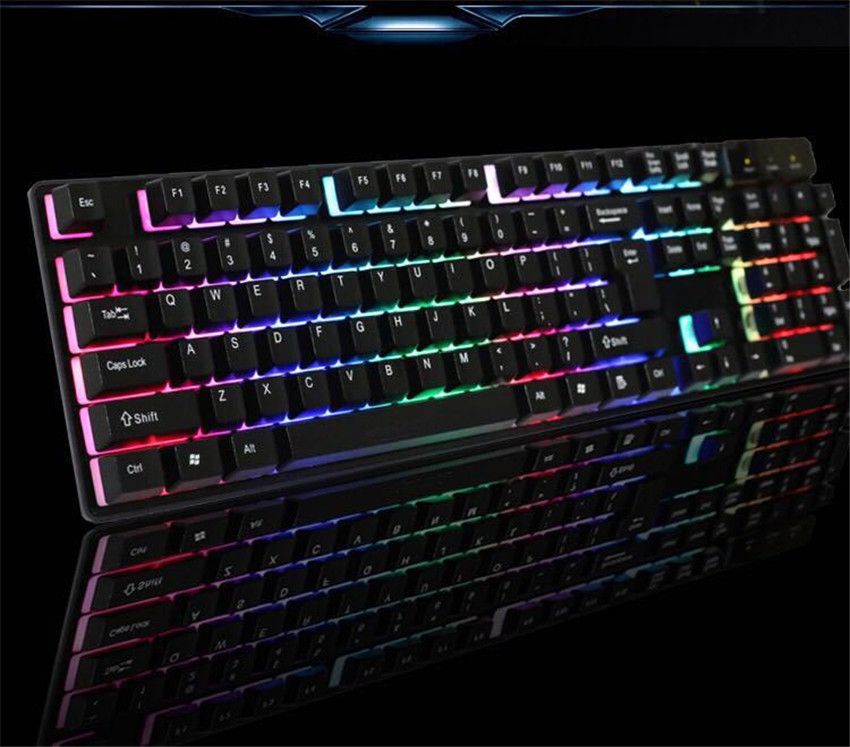 Mechanical Keyboard Rainbow 7 Colors Led Backlit Gaming Keyboard USB Wired Keyboard Ergonomic Spill-Resistance Design MK1771