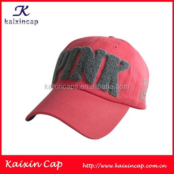 Grey Patch Logo Pink Colored Wholesale Good Quality Girls Golf Cap Hat