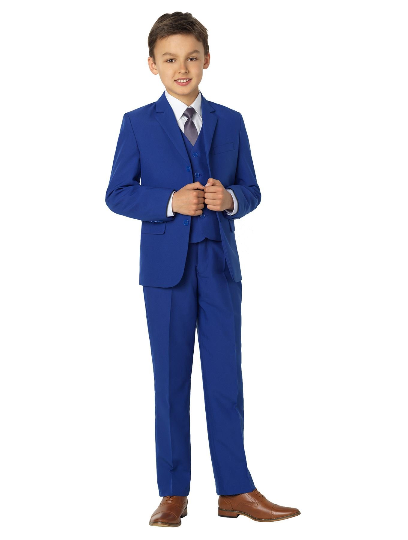 46832a5fd Get Quotations · Shiny Penny Boys Blue Formal 5 Piece Suit Set with Shirt &  Vest.