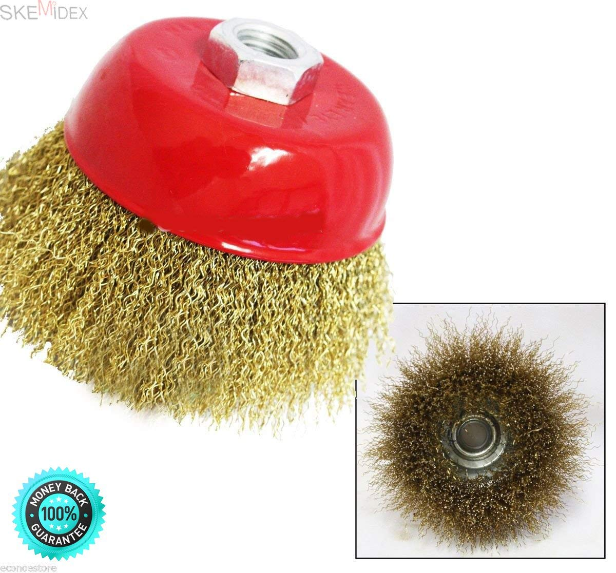 """SKEMiDEX---4-2/1"""" THREADED CUP WIRE WHEEL BRUSH FOR 5/8"""" SHAFT. Ready Metal Surfaces for Welding, Soldering & Painting Polish Steel, Brass & Copper Objects"""