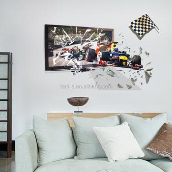 Vinyl 3d Muursticker.3d Formule 1 Racing Speed Auto Slaapkamer Woonkamer Kids Jongens